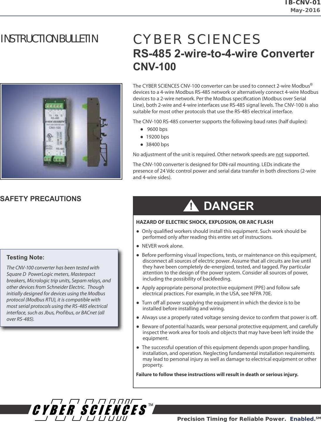 Str Idm Instruction Bulletin Installation Directions 2wire Modbus 485 Wiring