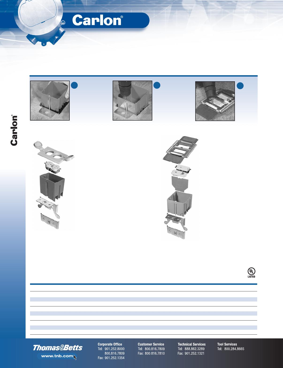 Carlon B121BFRW Adjustable Floor Box Kit With White Cover