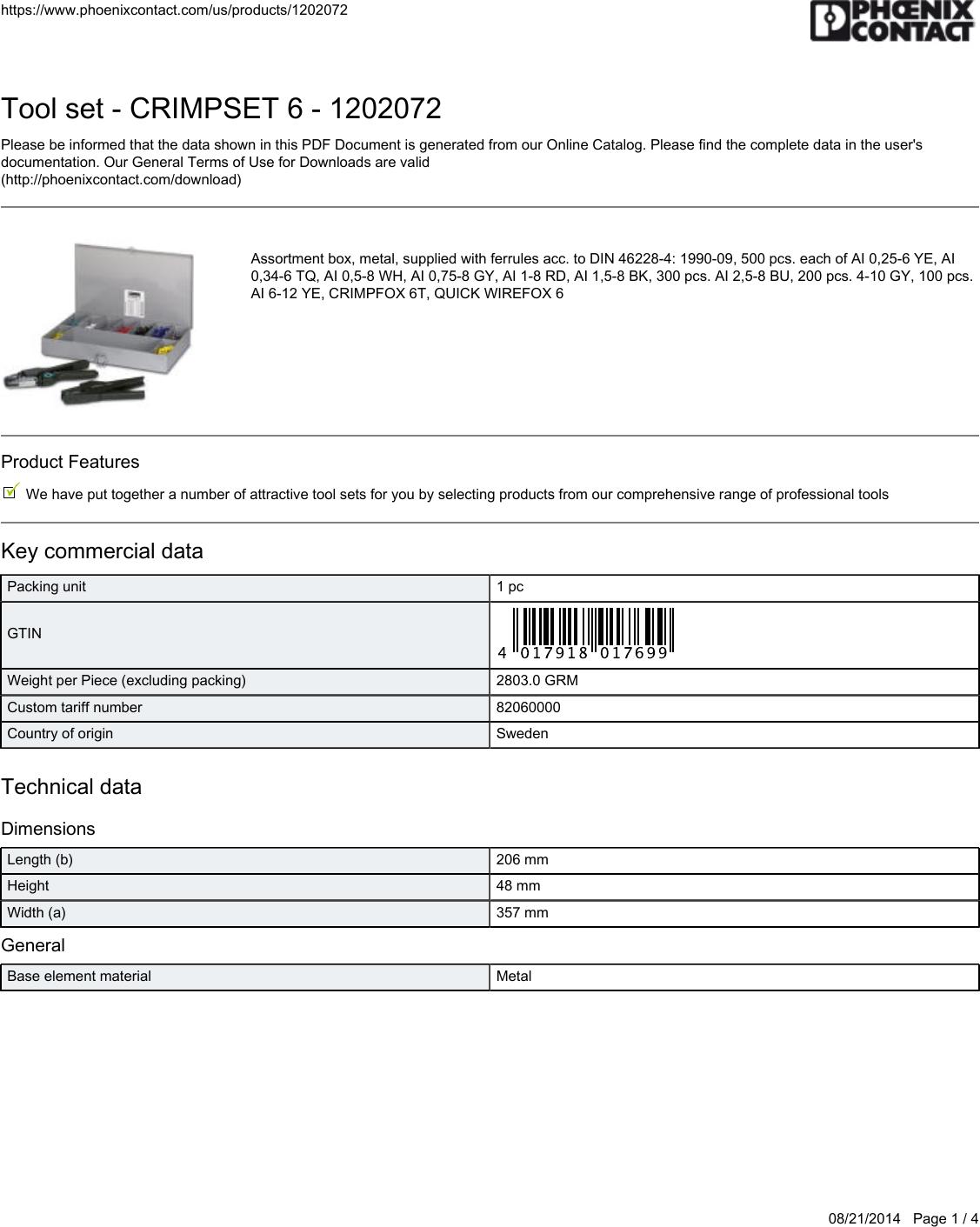 PHOENIX CONTACT FERRULE INSULATED RED AI 1-8 RD  3200030 100//PACK
