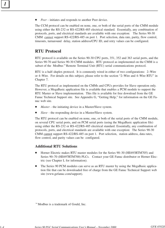 Series 90 PLC Serial Communications User's Manual, GFK 0582D