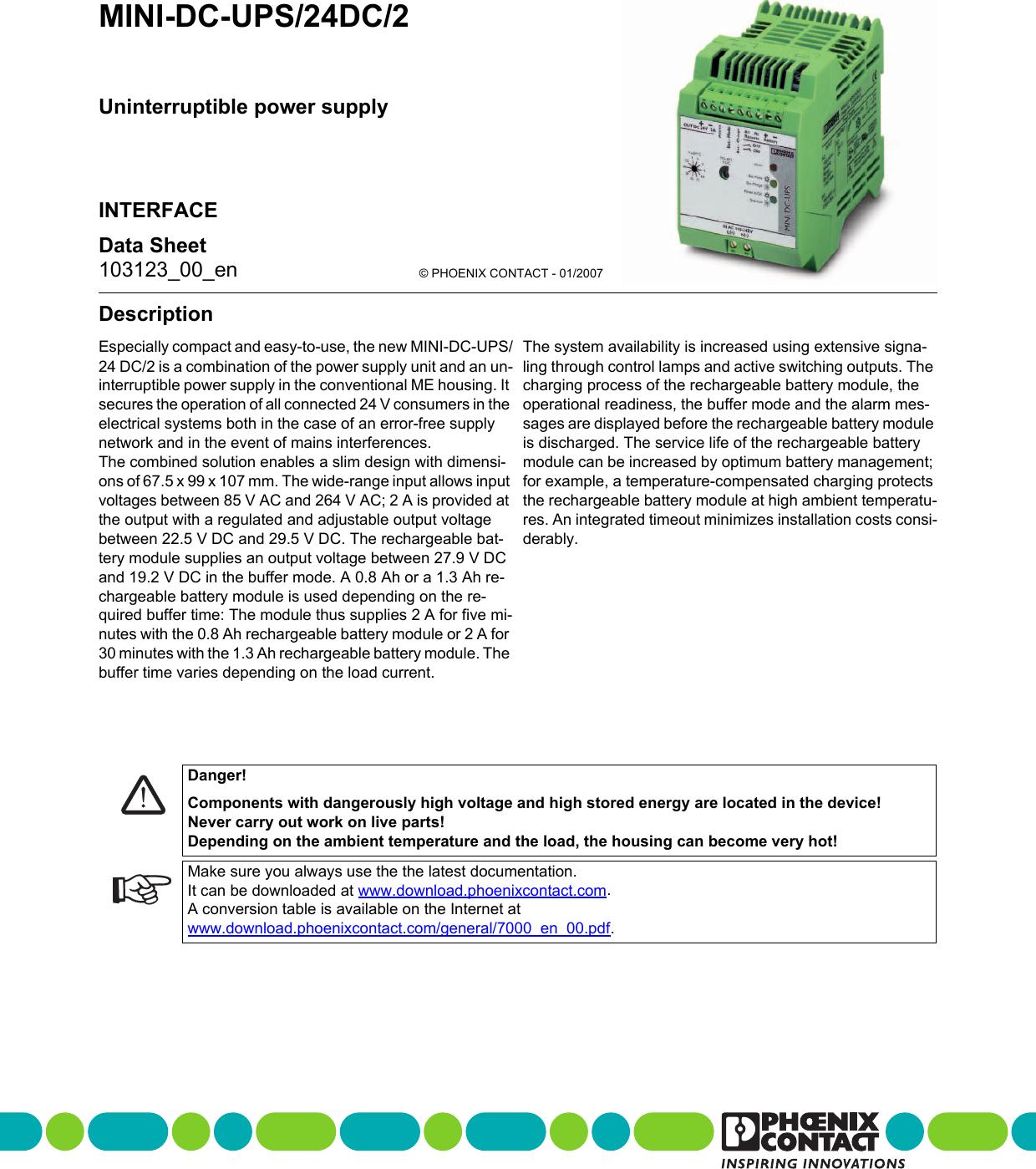 Data Sheet DB EN MINI DC UPS/24DC/2
