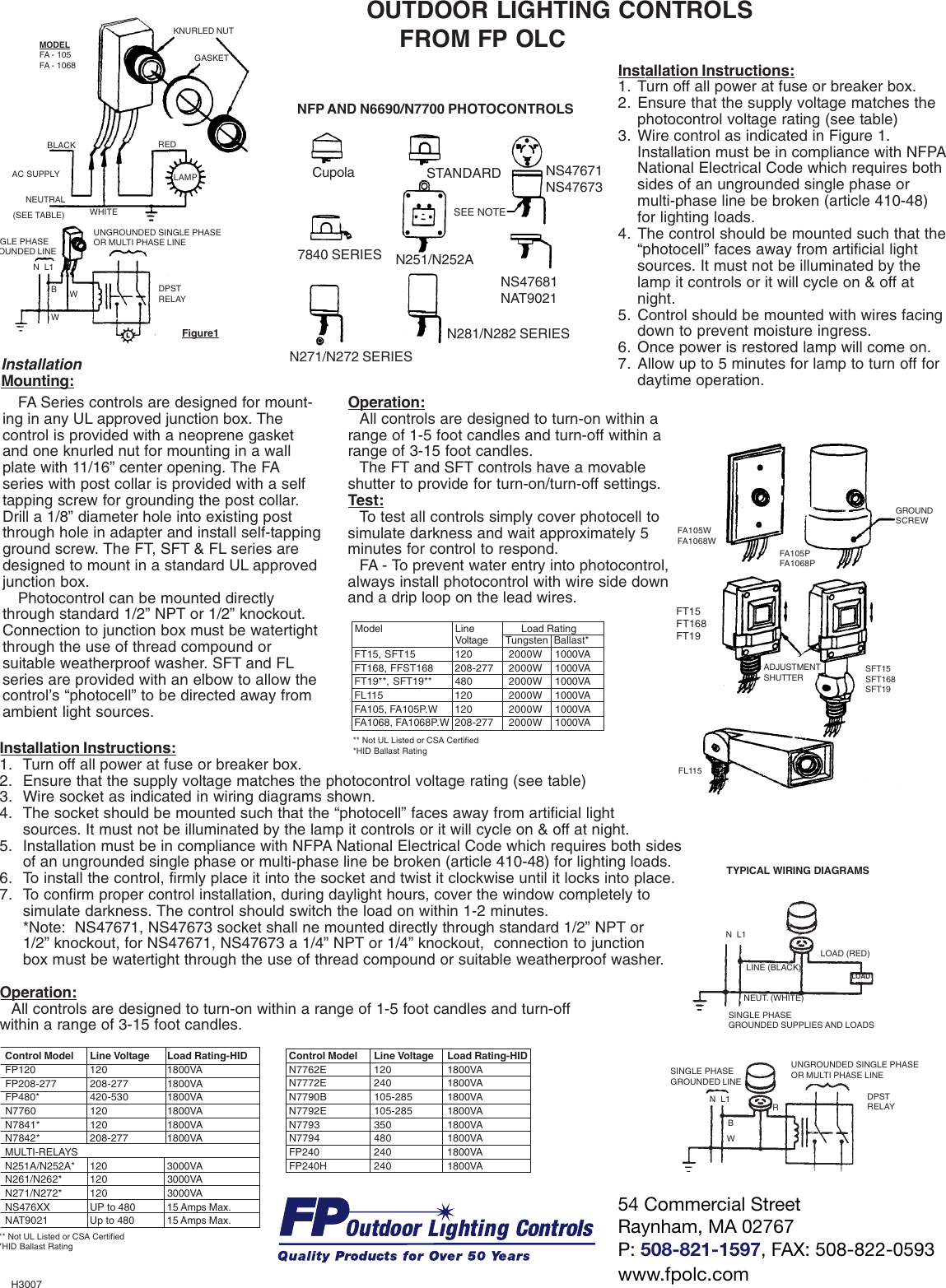 Instruction Sheet Installation Directions Hid Fixture Photocell Wiring Diagram