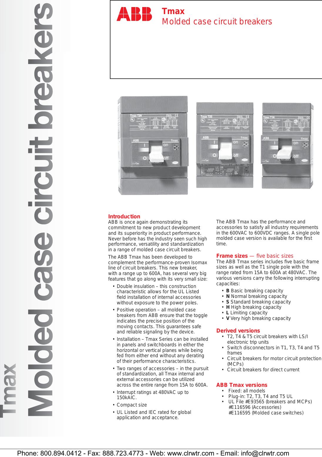 ABB Tmax Molded Case Circuit Breakers