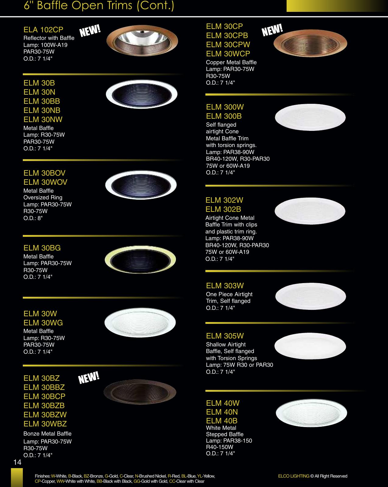 ELM500 Elco Lighting ELM500W 5 Airtight Metal Cone Baffle