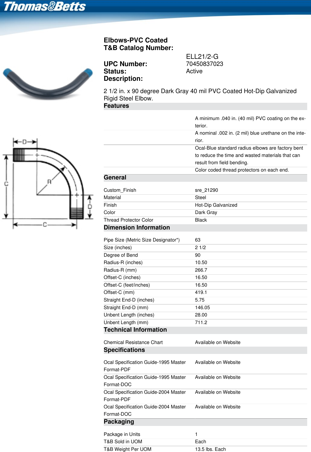 90 Degree Elbow Dimensions Chart