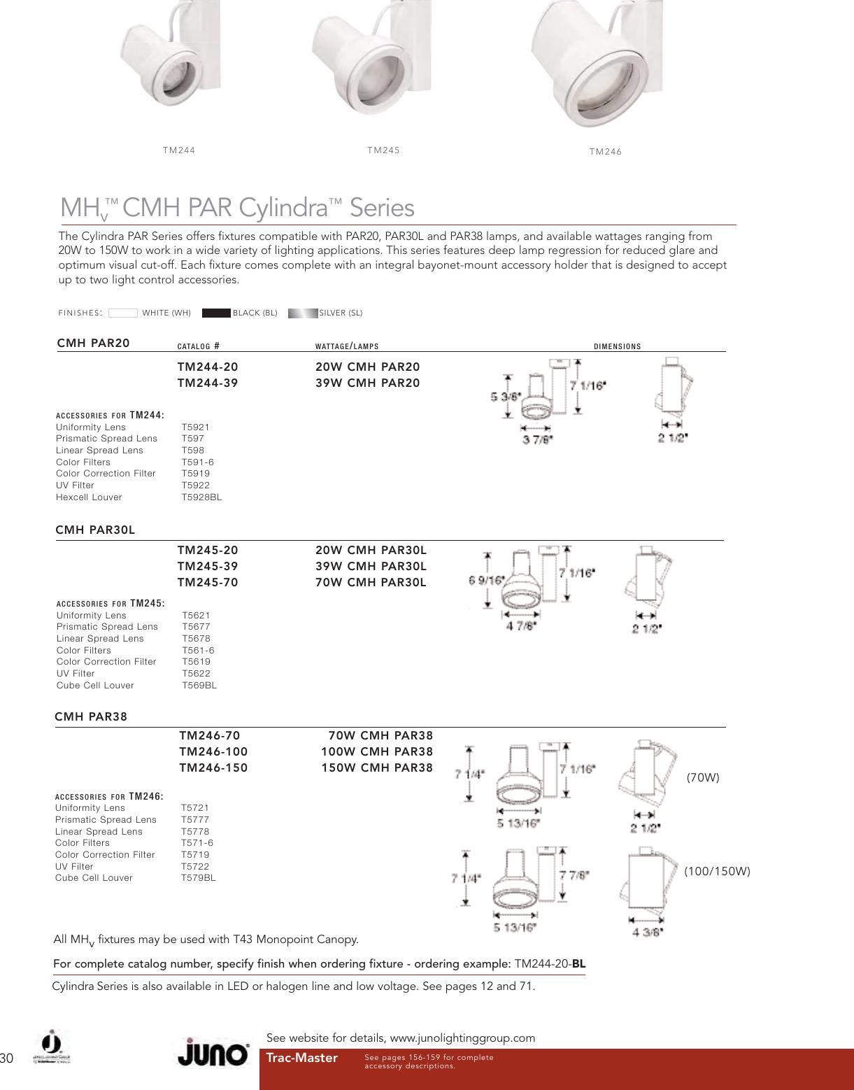 MHv Pro-Gimbal 39W CMH PAR30L Trac Lamp Juno TM203-39EMH-WH