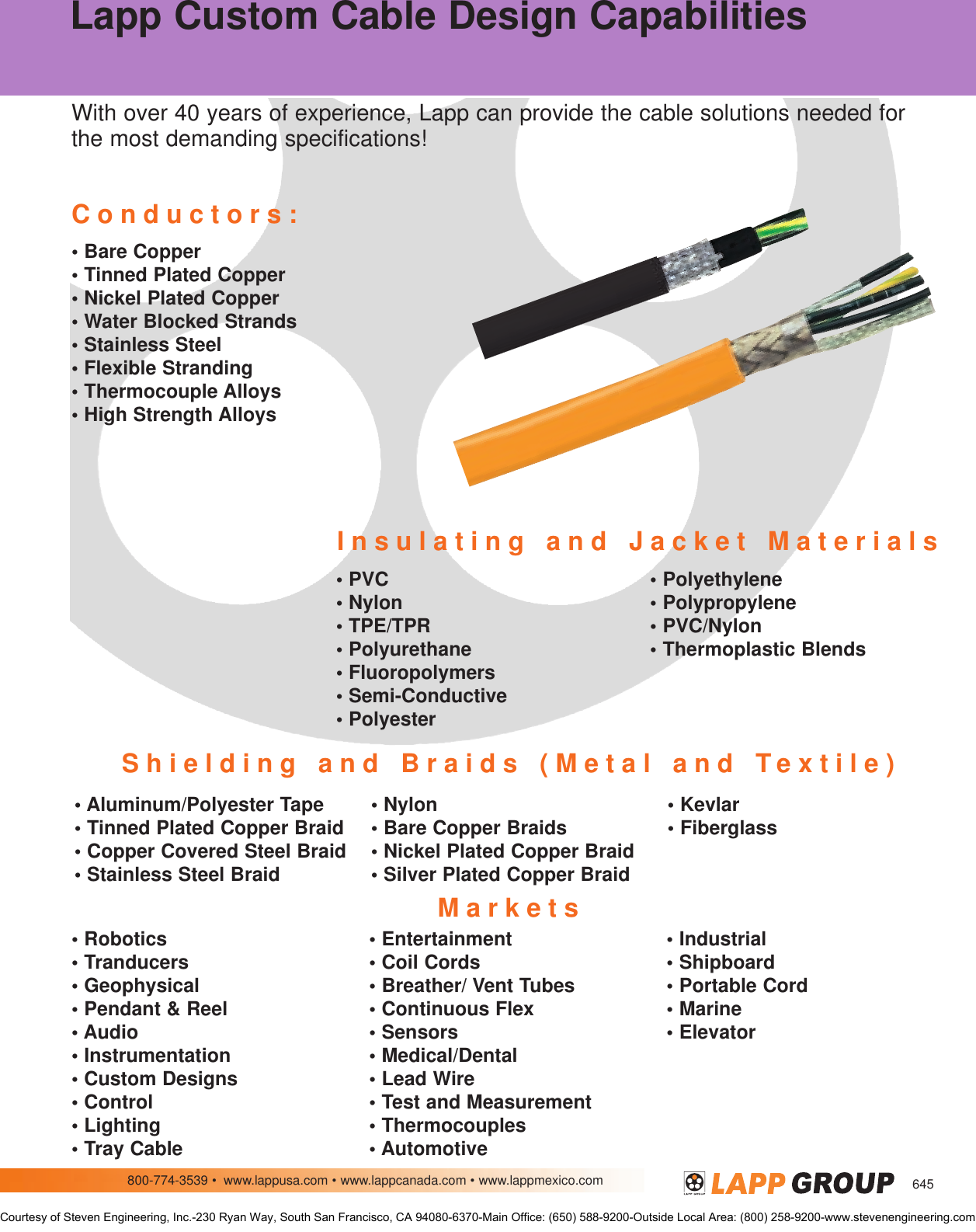 Lapp USA Offers A One stop Solution For Power/signal Cable And