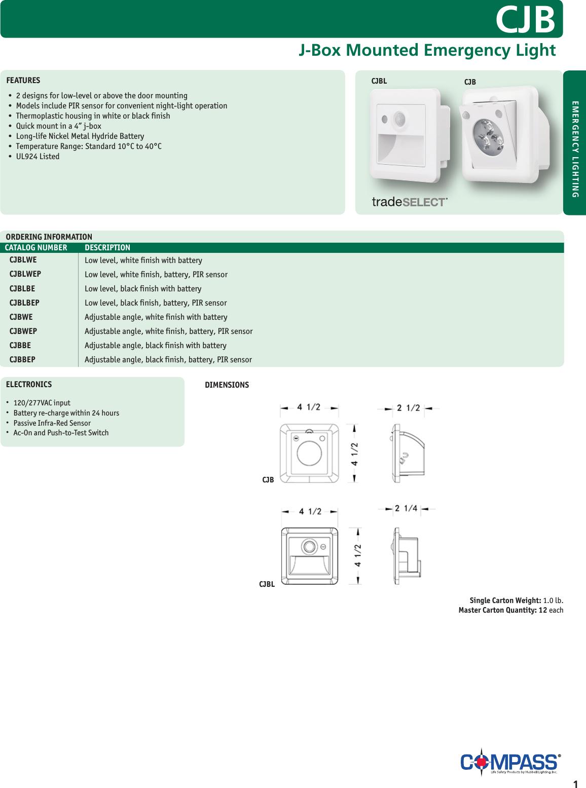 Black Finish Compass CJBBE CJB Adjustable Angle with Battery