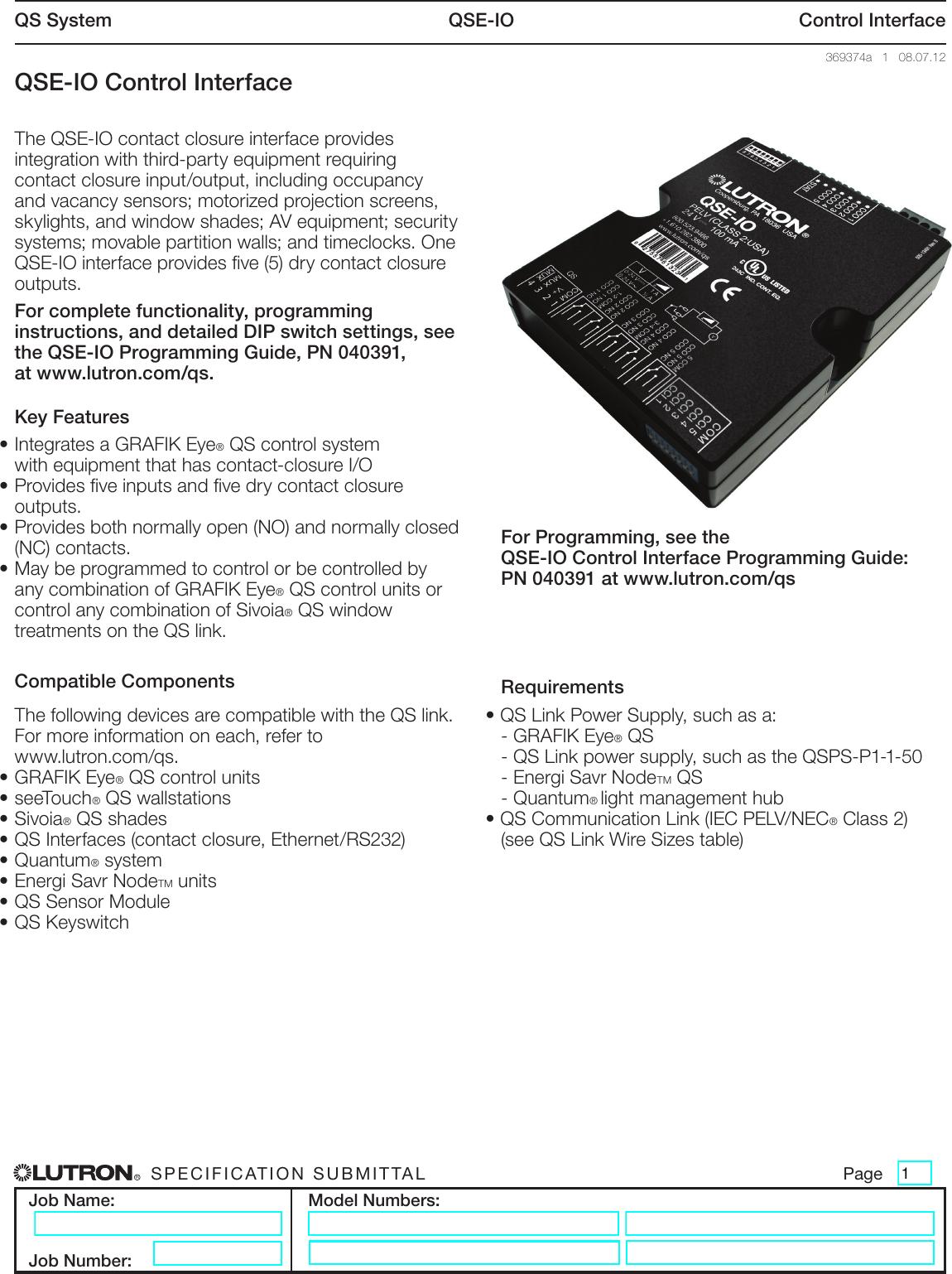 Qse Io Control Interface Brochure Pnp 24v Wiring Diagrams For Eyes Photo