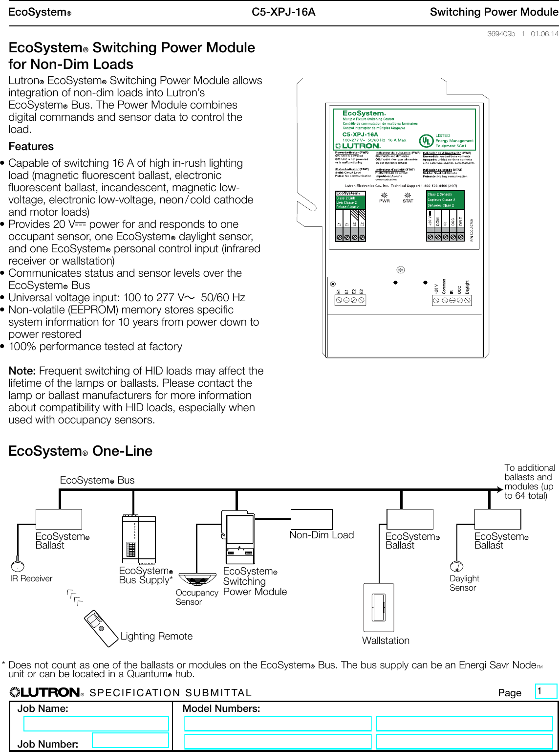 lutron ecosystem ballast wiring diagram ecosystem switching power module for non dim loads spec submittal  switching power module for non dim