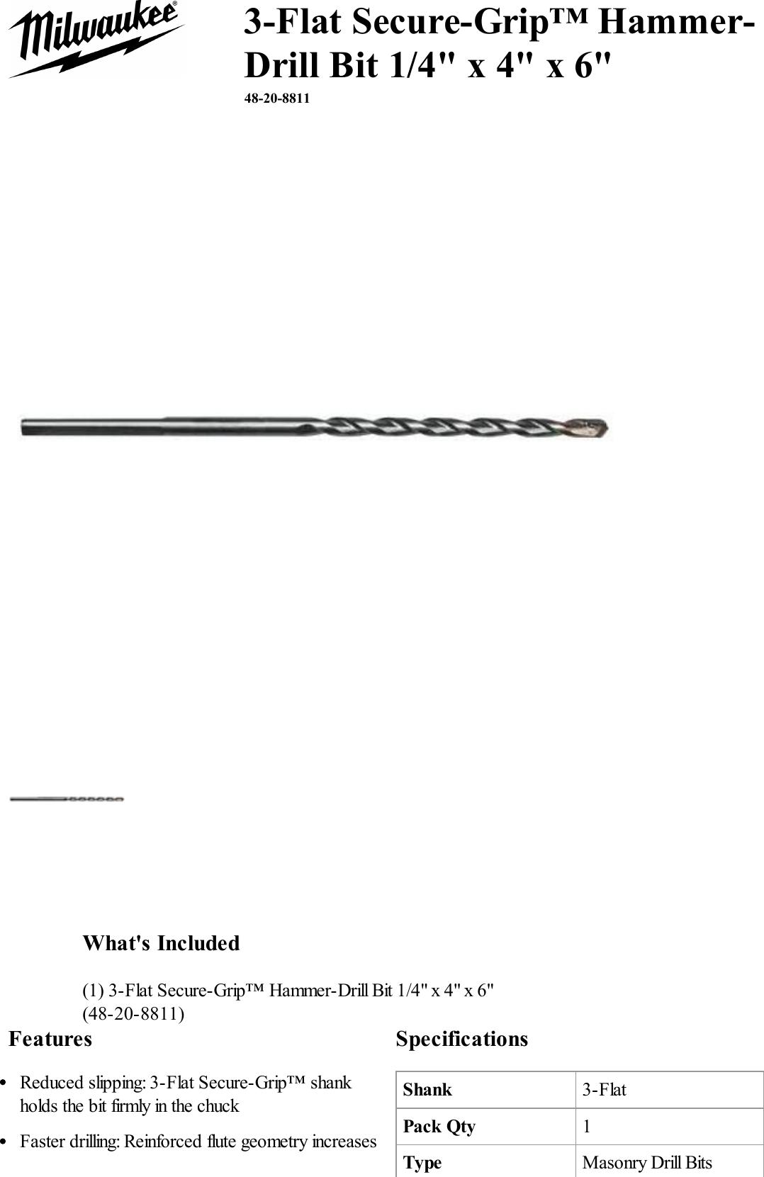 Milwaukee 48-20-8805 3-Flat Hammer-Drill Bit 3//16 in x 2 in x 4 in 2 pk