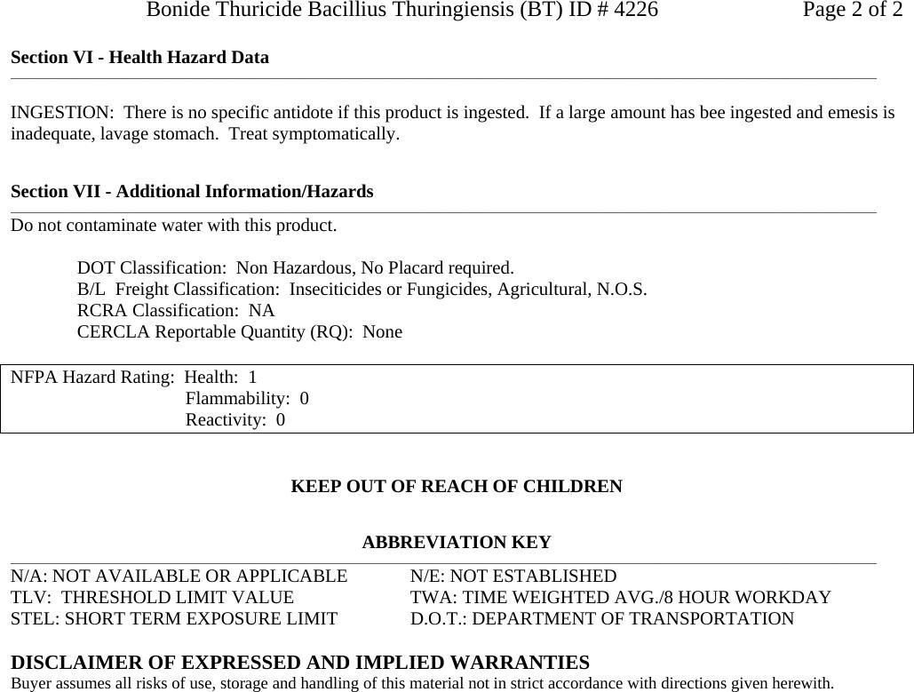 Thuricide Bacillus Thuringiensis _BT_, 4 226 704735 MSDS