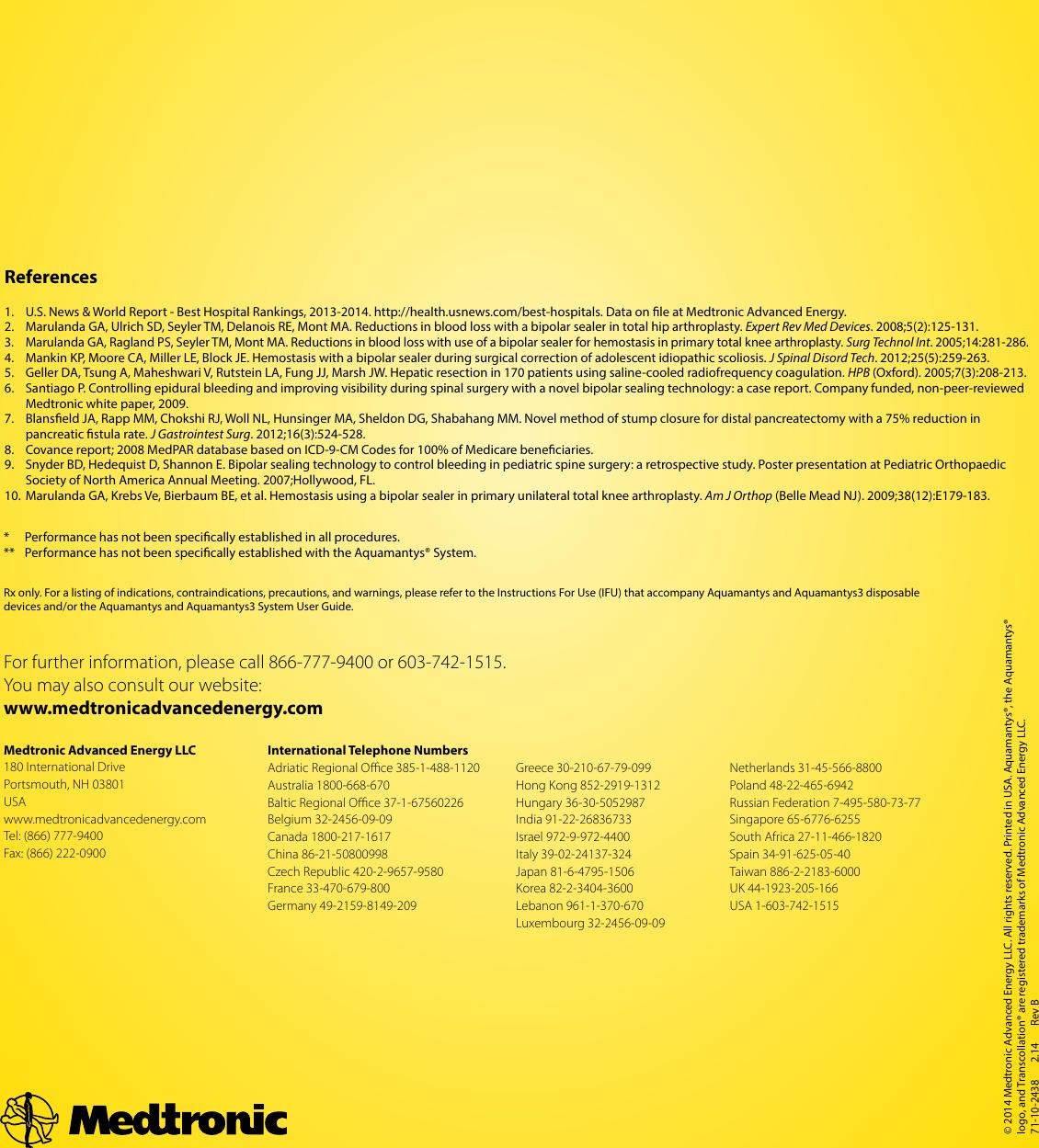 71 10 2438 Rev B Aquamantys System Brochure