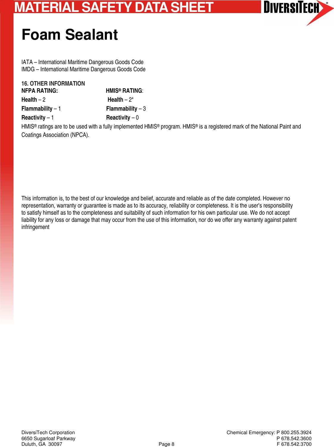 DOC27285 Foam Sealant 05 31 2012 728102 MSDS