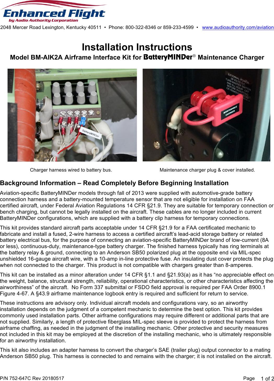 752 647c Bm Aik2a Installation Instructions 20180517 Kentucky Wiring Harness Manual