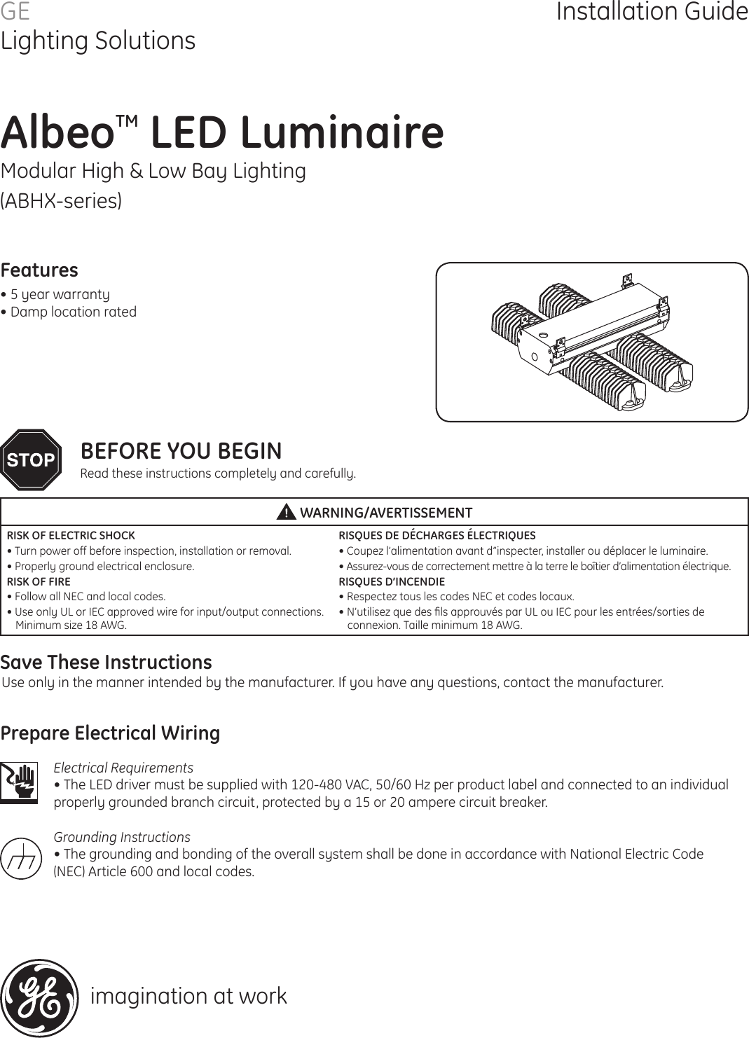 Ge Led Fixtures Albeo Abhx Series Modular High Bay And Low Luminaire Driver Wiring Instructions Installation Lighting Directions