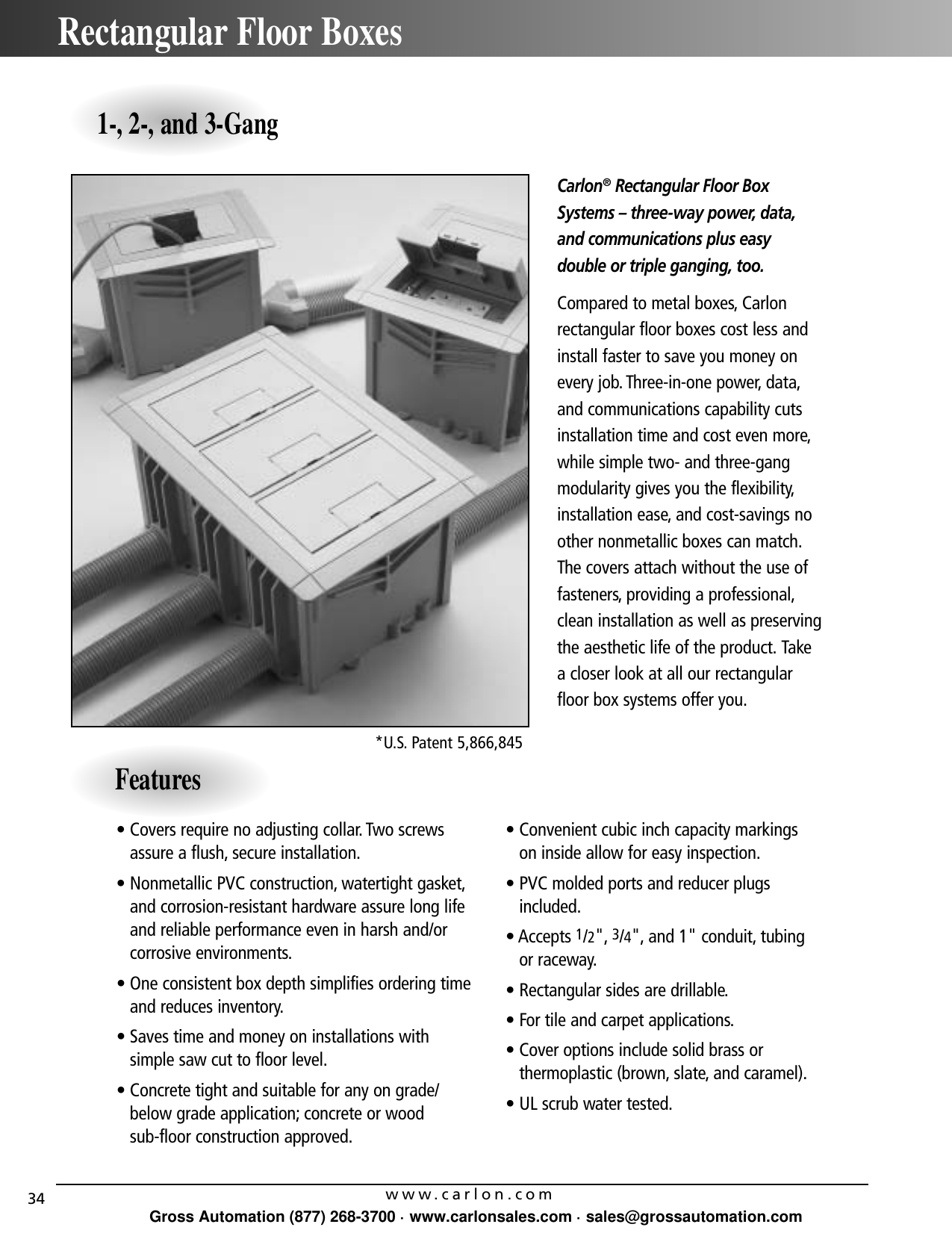 "Carlon E962E Non-Metallic Weatherproof Fixture w// 3//4/"" Threaded Hubs"
