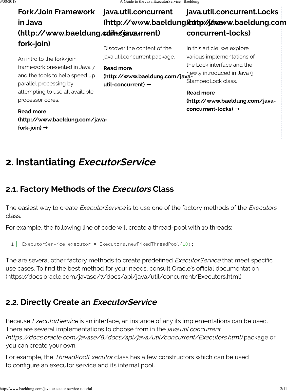A Guide To The Java Executor Service Baeldung
