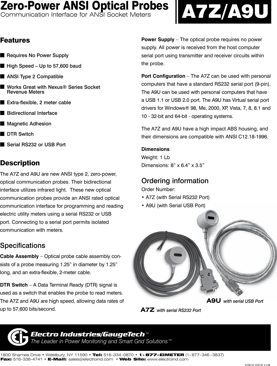 A7Z/A9U Brochure V 1 08 A7Z And A9U ANSI Optical