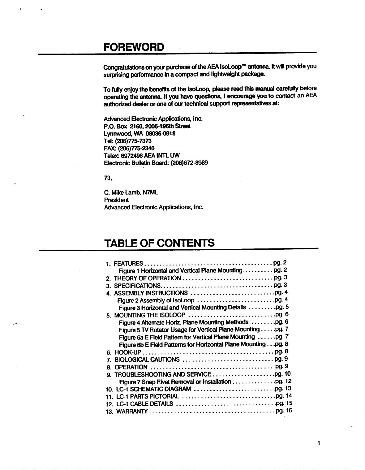 AEA Isoloop HF Antenna Manual