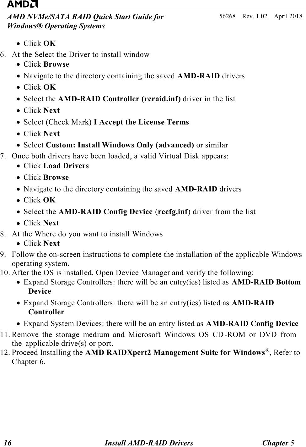 AMD NVMe/SATA RAID Quick Start Guide For Windows® Operating