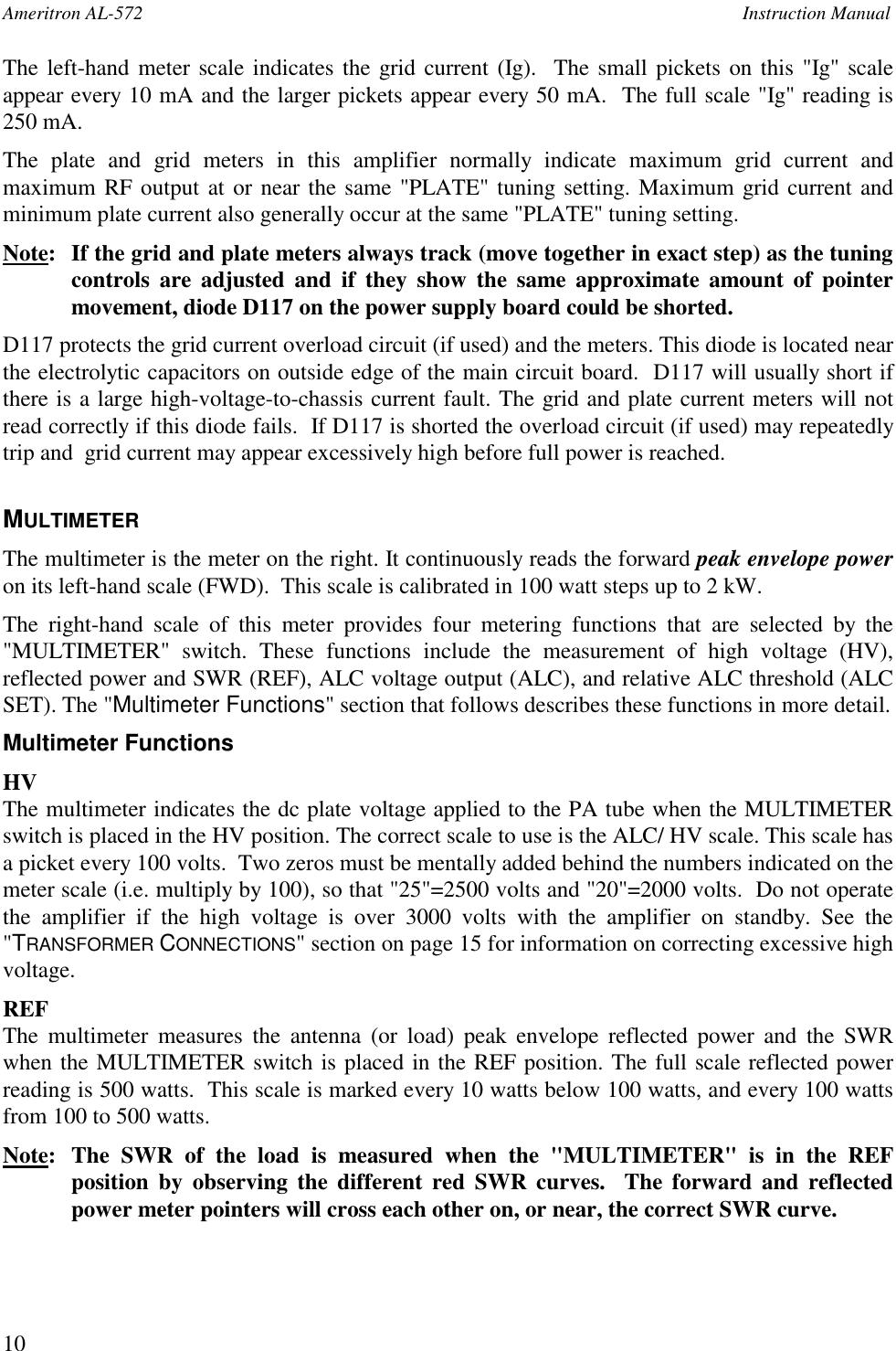 AL572 AMERITRON AL 572 User Manual