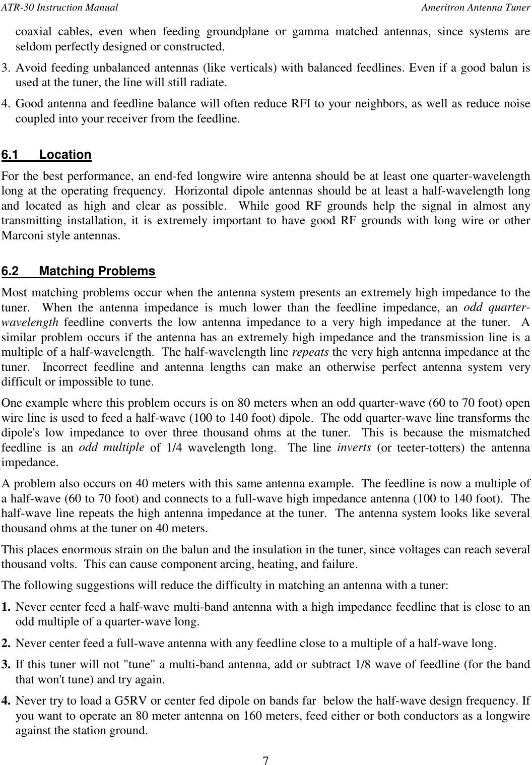 Ameritron Antenna Tuner ATR 30X User Manual