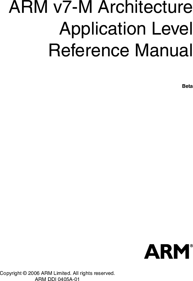 ARM V7 M Architecture Application Level Reference Manual ARMv7