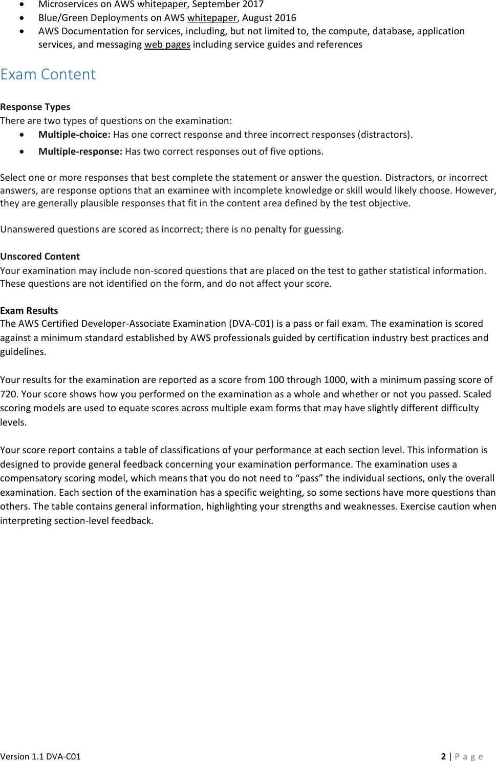 AWS Certified Developer Associate Beta Exam Guide V1 1