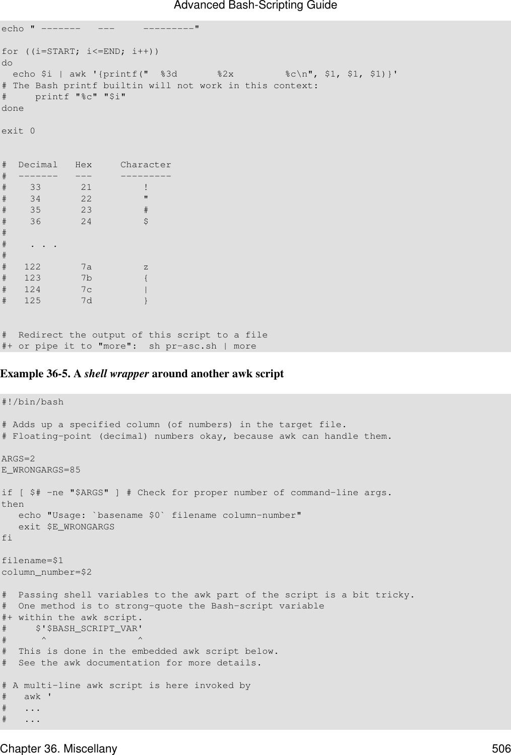Advanced Bash Scripting Guide
