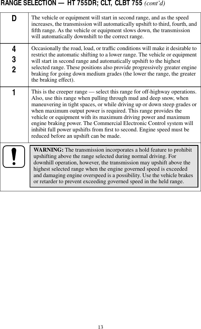 Operator's Manual MT(B), HT(B), CT Series Allison AT MT HT