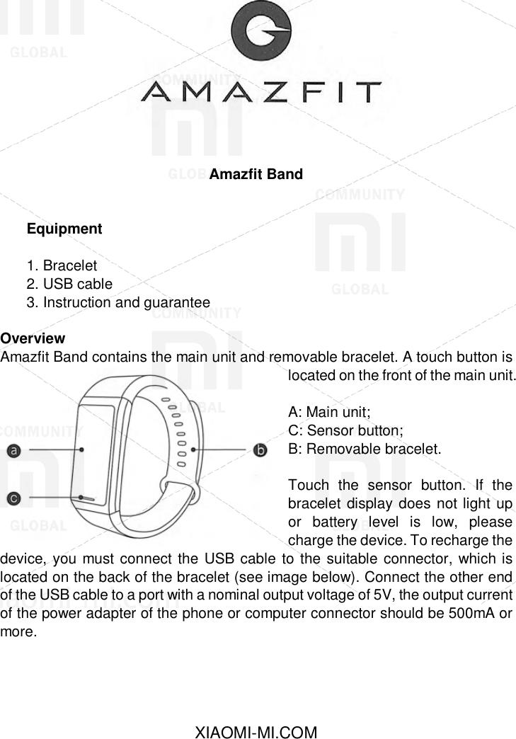 Amazfit Band User Manual EN