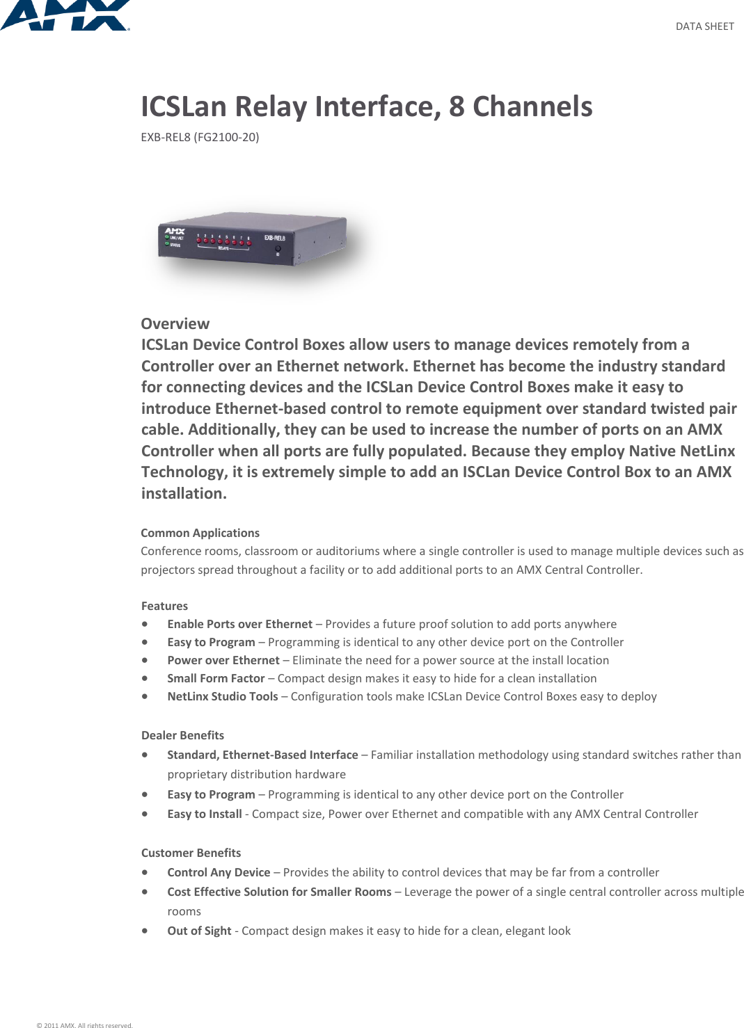 Amxfg2100 20 Data Sheet Exb Rel8 Icslan Relay Interface 8 Channels Power Ethernet User Manual