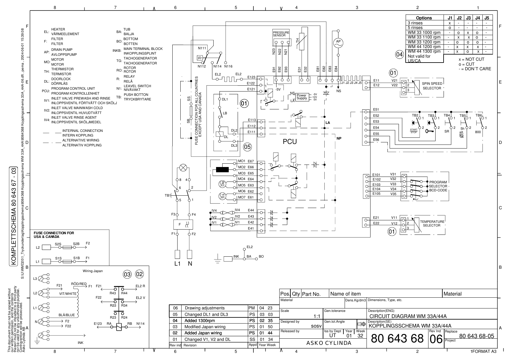 Wiring Diagram For Asko Dishwasher Diagrams Data Base Kitchenaid 8064368 Kopplingsschema 33a 44a 06 Dft Washing Machine Wm Washer Motor At