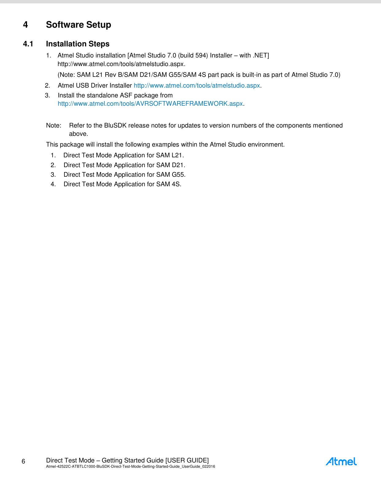 Direct Mode Getting Started Guide Atmel 42522 ATBTLC1000 Blu SDK