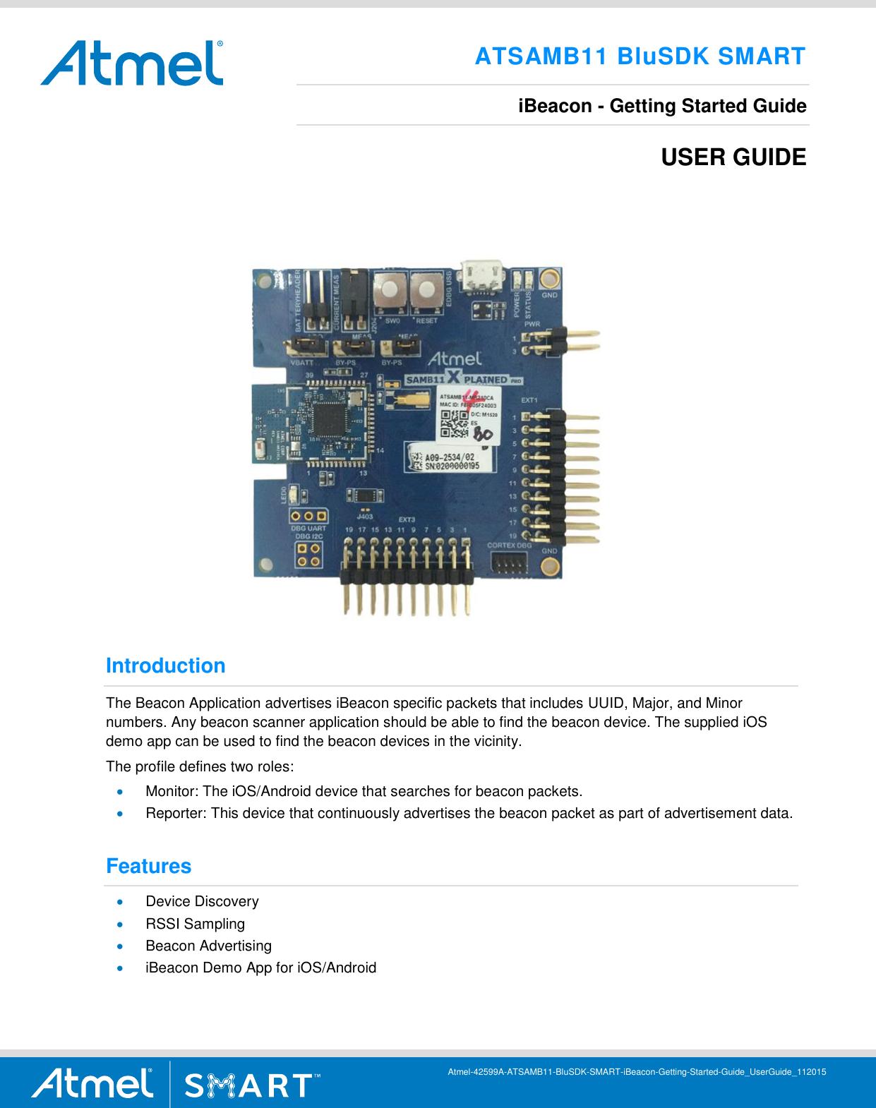 ATSAMB11 BluSDK SMART IBeacon Getting Started Guide Atmel