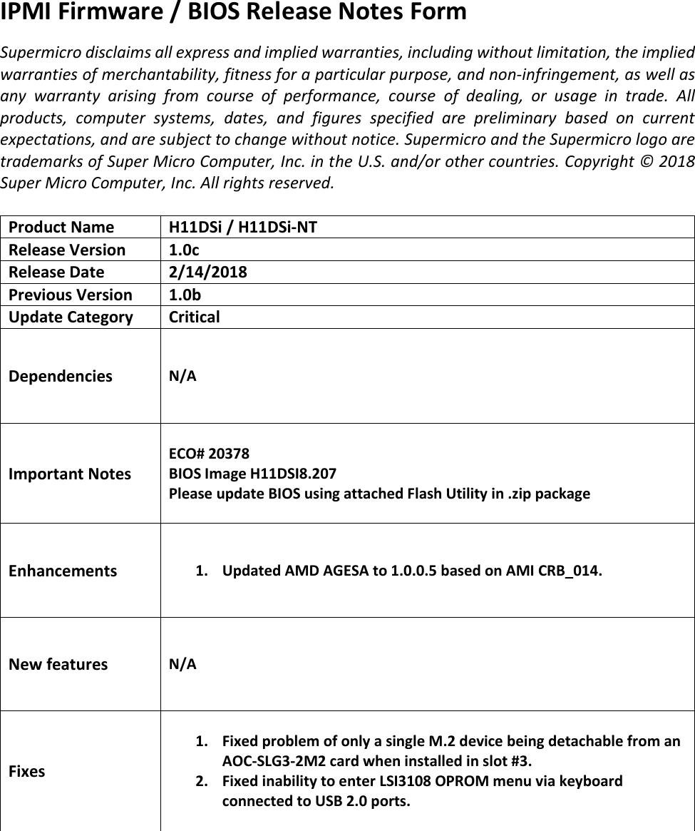 BIOS Release Notes H11DSi8 207
