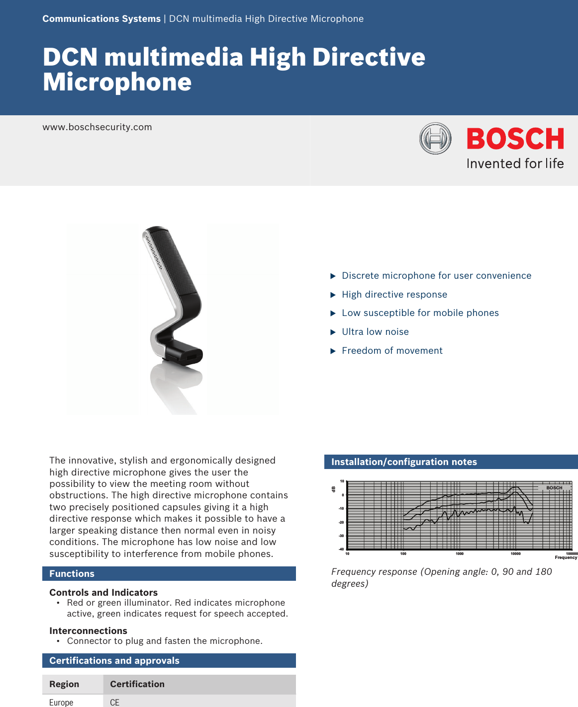 Boschdcnmhdmic DCN Multimedia High Directive Microphone User