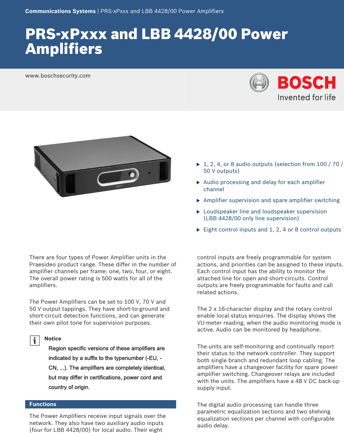 Boschlbb4428 Prsxpxxx And Lbb 4428 00 Power Amplifiers User Manual Vu Meter For