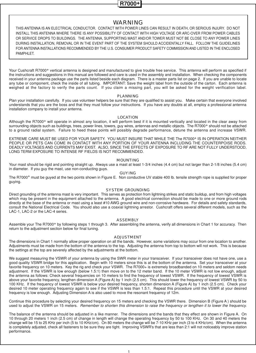 Page 2 of 8 - CUSHCRAFT--R-7000+INSTALLATION CUSHCRAFT--R-7000 INSTALLATION