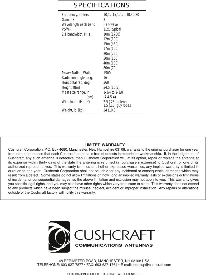 Page 8 of 8 - CUSHCRAFT--R-7000+INSTALLATION CUSHCRAFT--R-7000 INSTALLATION