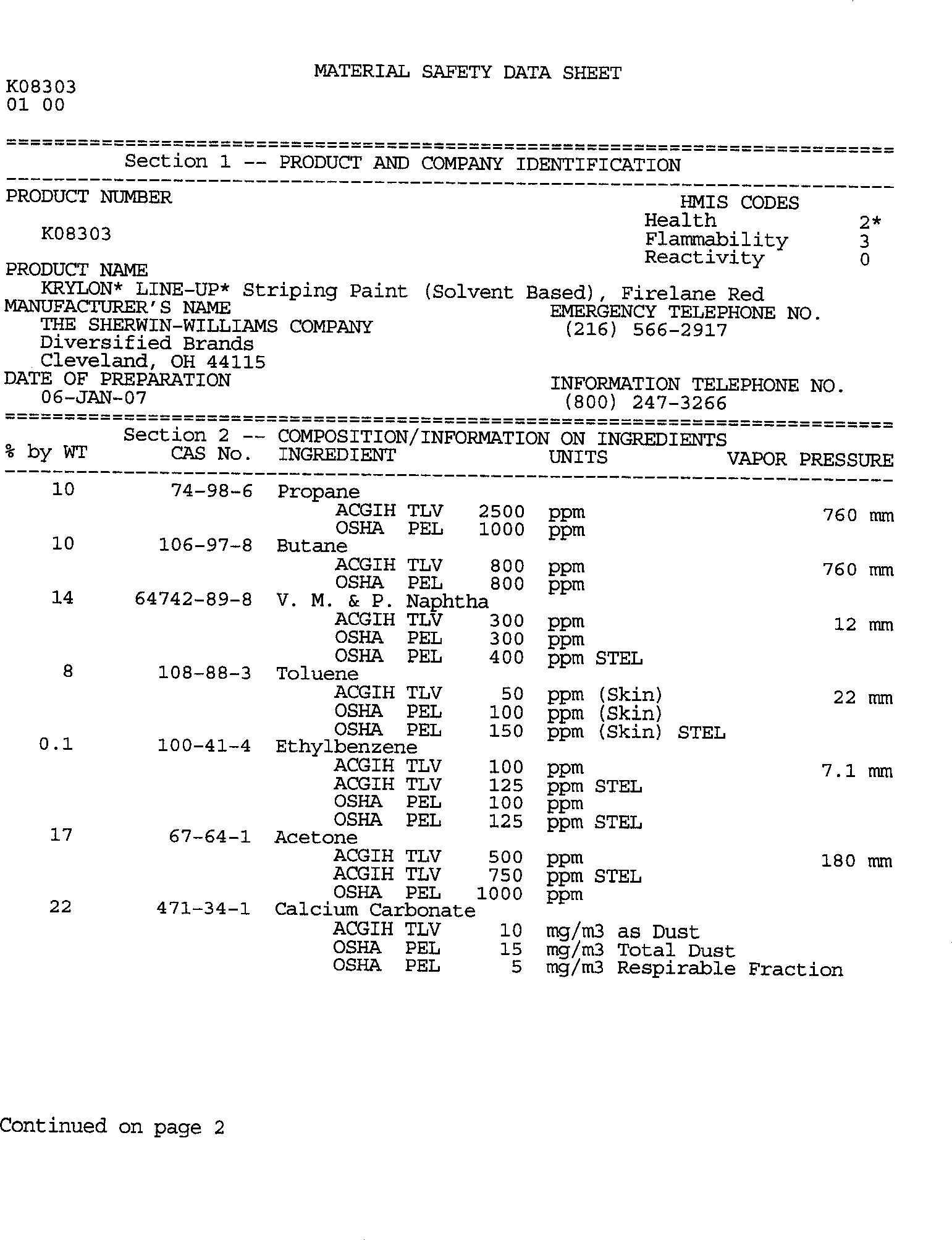 FAX (17) TIF Chadwell Supply MSDS