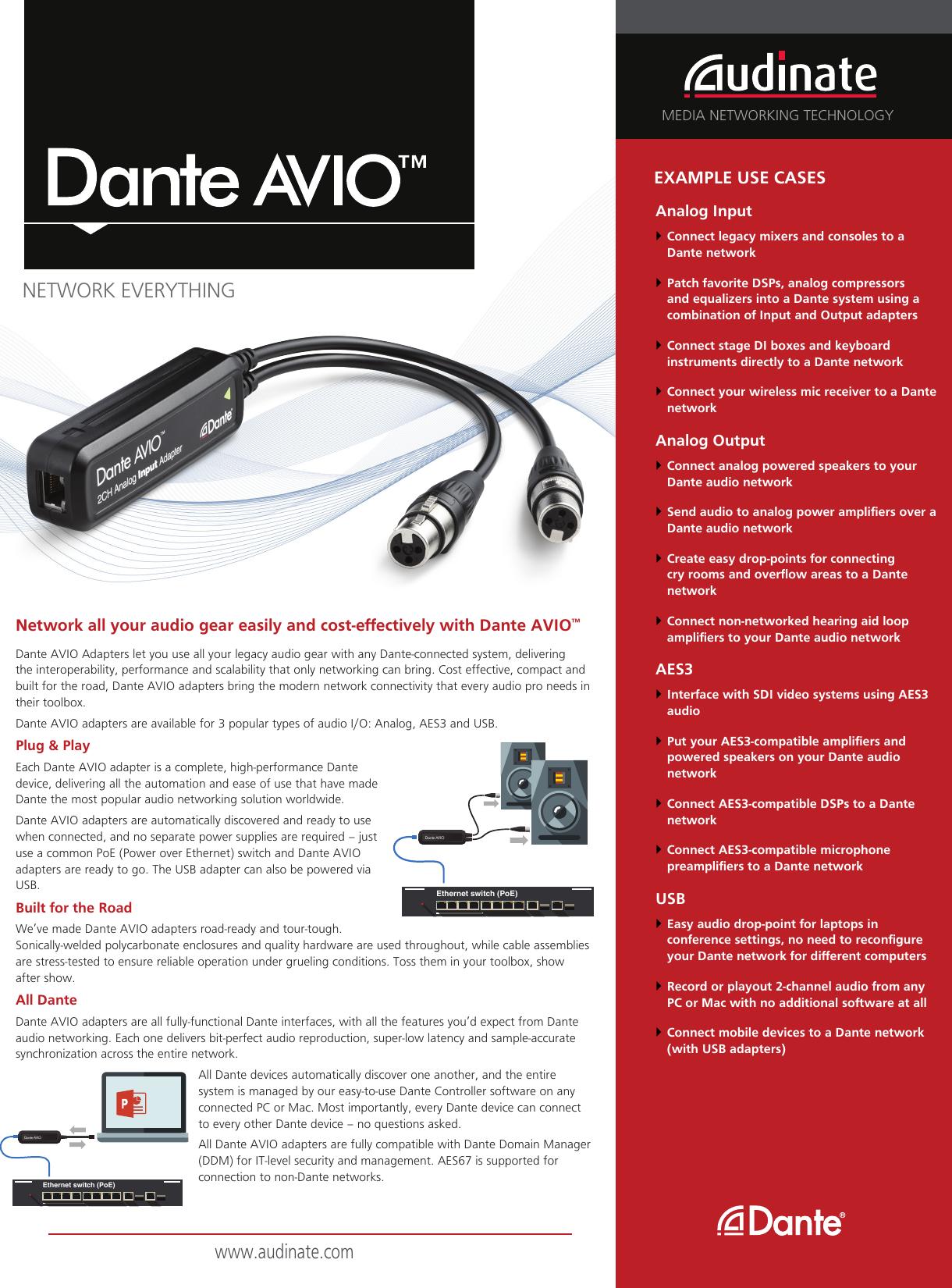 Dante AVIO Adapters Datasheet | Audinate    V1 1 en