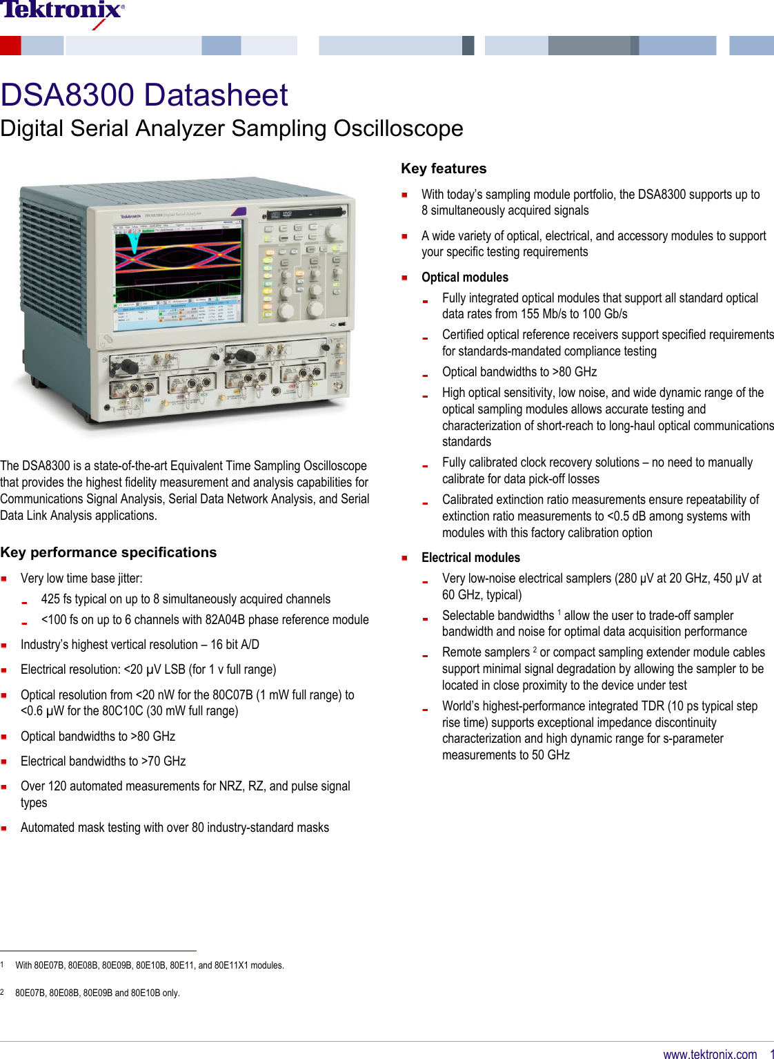 Dsa8300 Digital Serial Analyzer Sampling Oscilloscope Datasheet Multi Gigabit Link Analysis Datenblatt