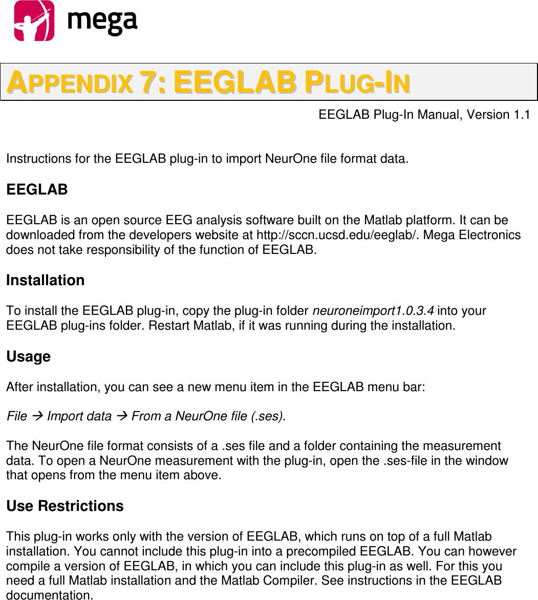 800581 2 8, NeurOne System User Manual EEGLAB Plug In