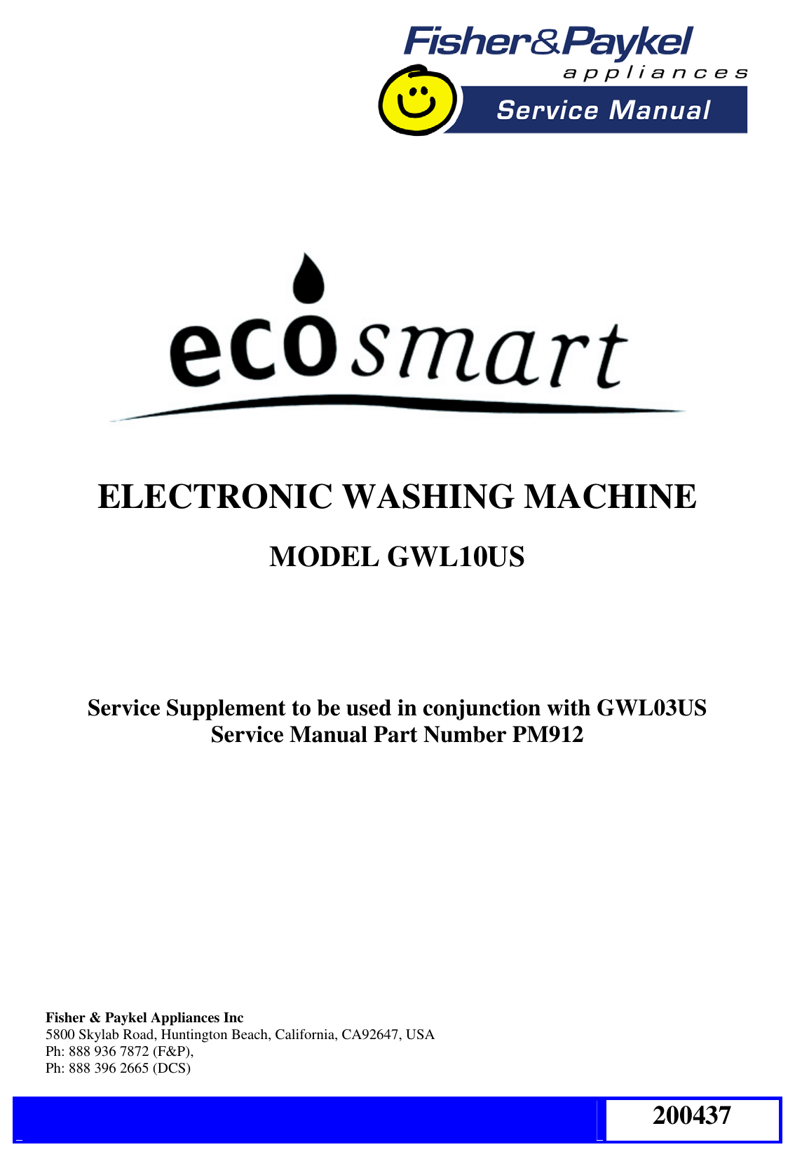 200437 Smartdrive Gwl10us Washer Service Manual Fisher Paykel Washing Machine Wiring Diagram Electronic