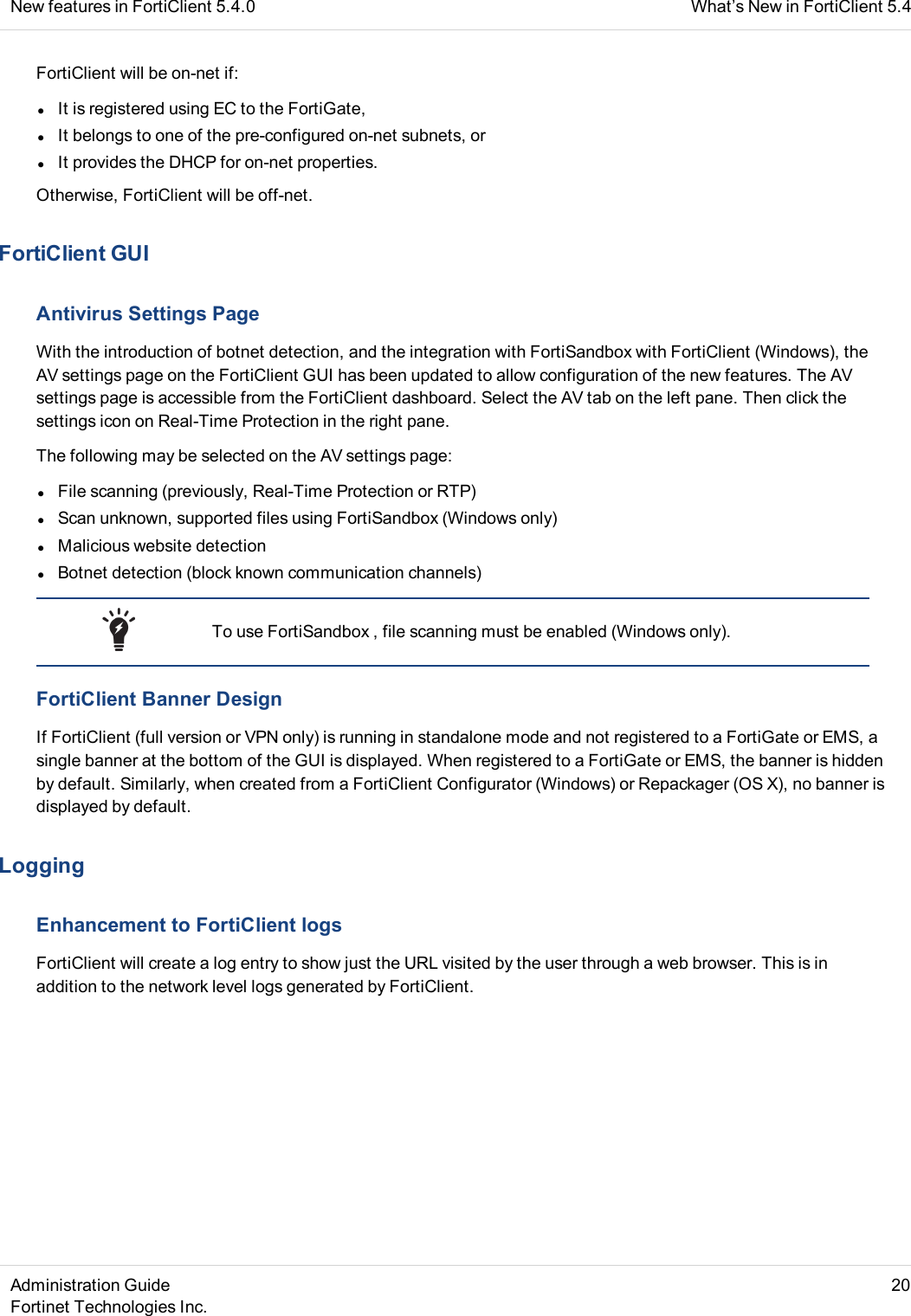 FortiClient Administration Guide Forti Client 5 4