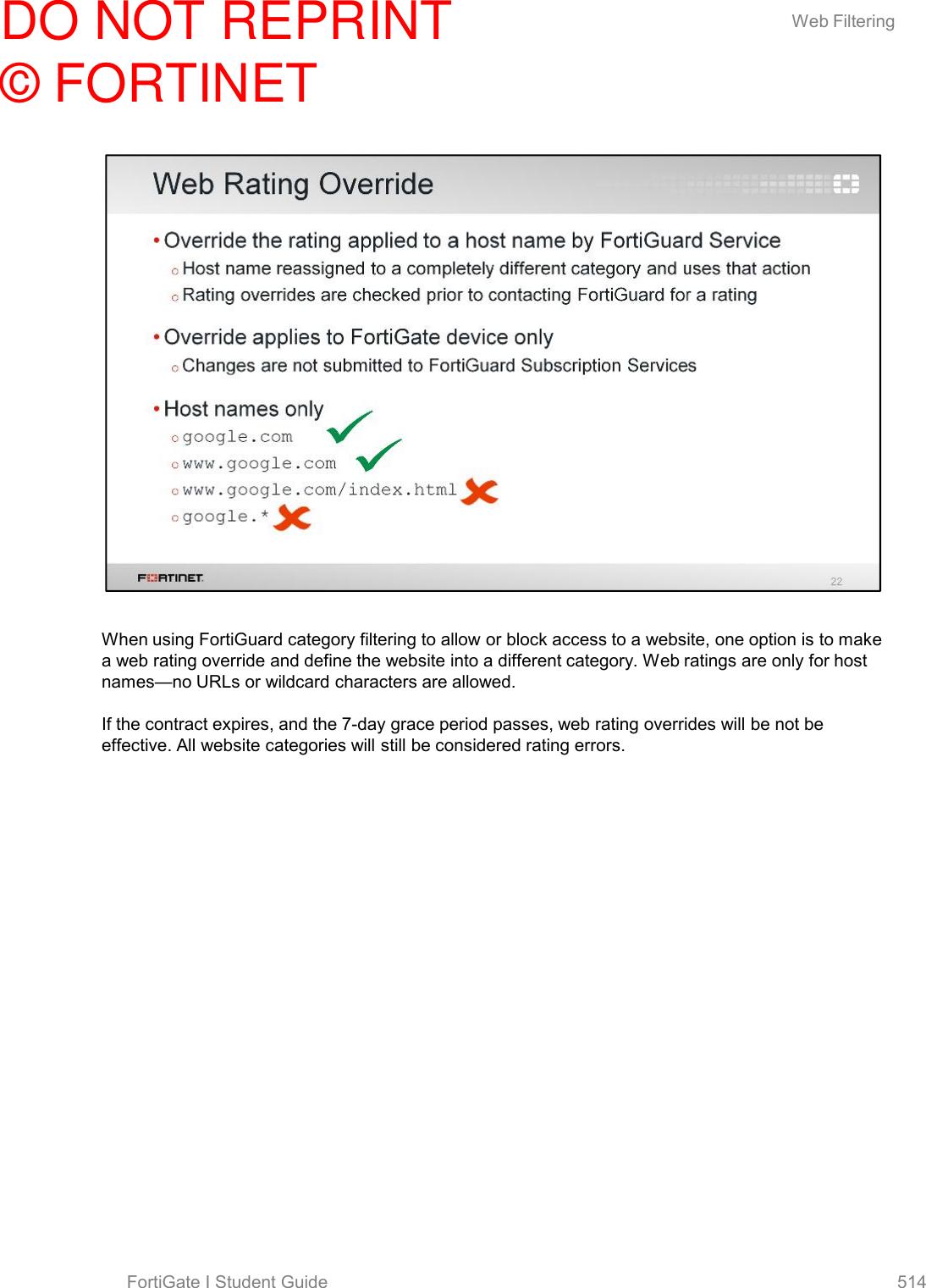 Fortigate Web Filter Override Not Working