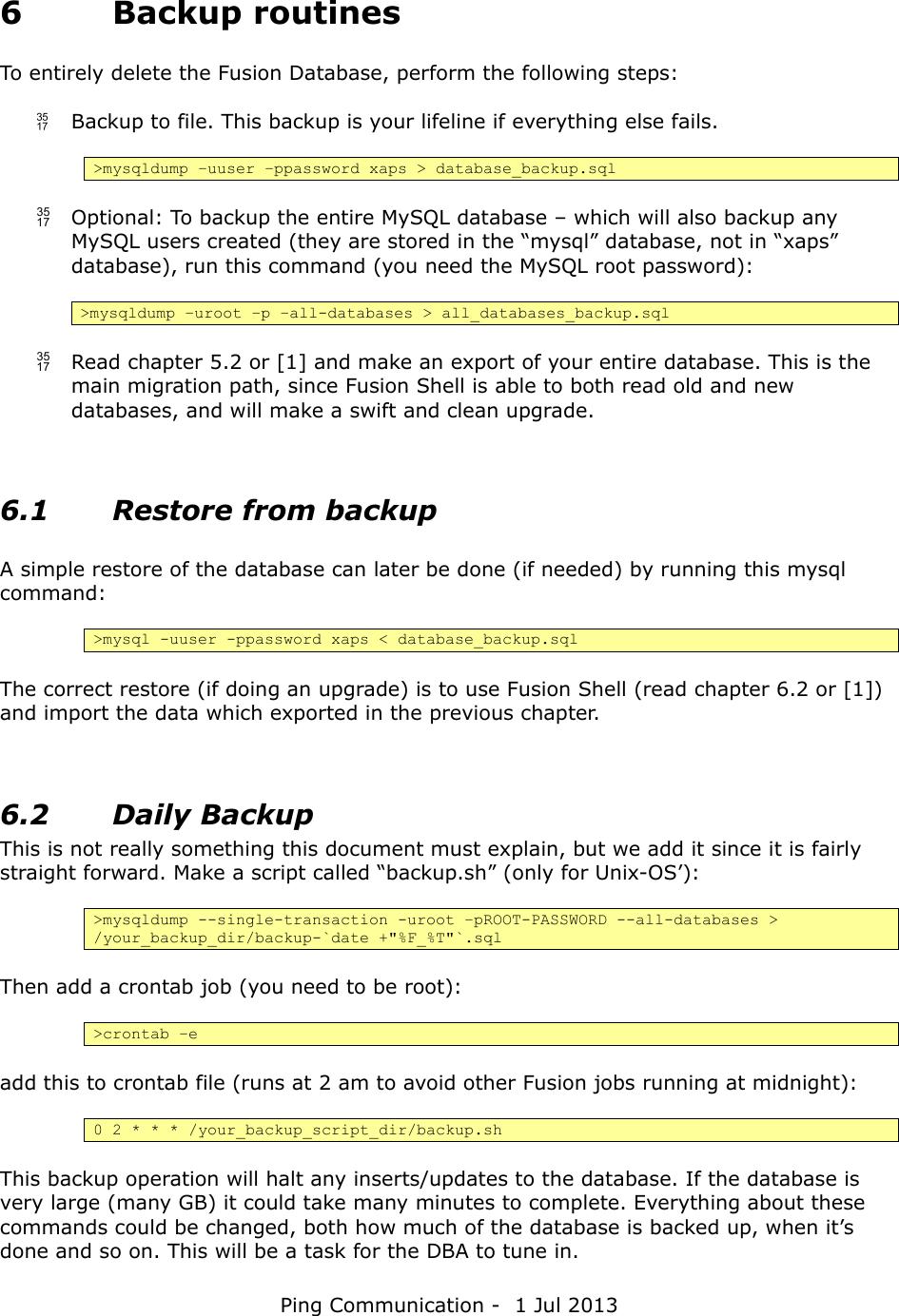 Owera Fusion Database User Manual