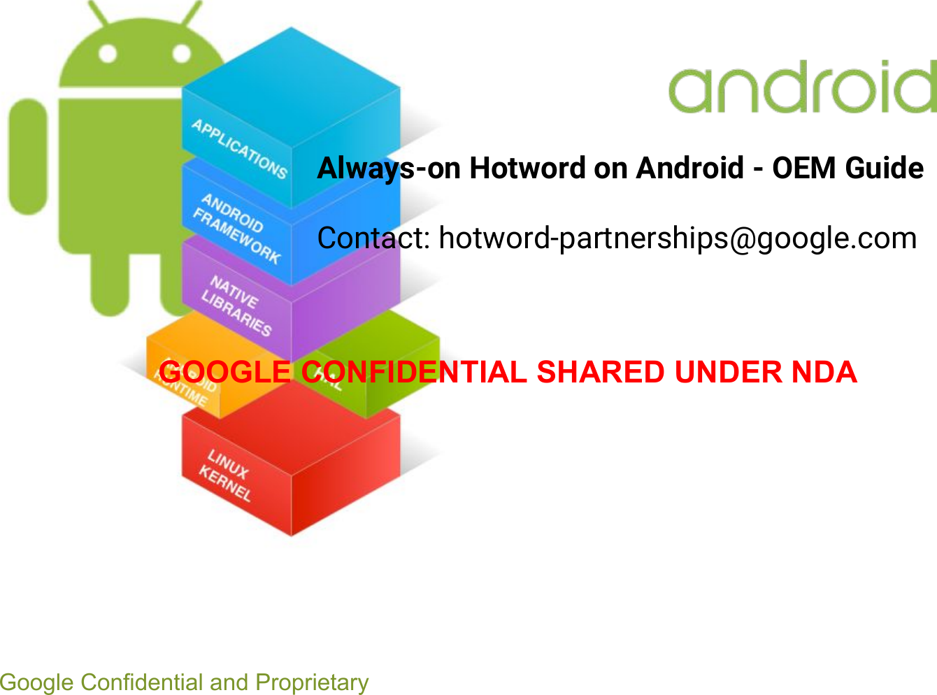 Google Assistant Always on Hotword Android OEM Guide